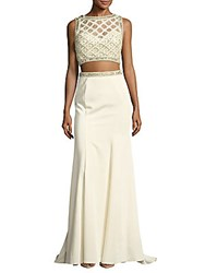 Mac Duggal Two Piece Embellished Sleeveless Top And Solid Skirt Oyster