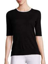 Saks Fifth Avenue Contrast Trim Cashmere Sweater Black White Bright Pink Light Pink Grey Navy