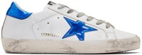 Golden Goose White And Blue Fluo Superstar Sneakers