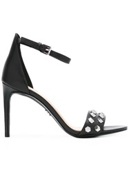 Michael Michael Kors Embellished Open Toe Sandals Women Leather Rubber 5 Black