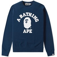 A Bathing Ape College Light Weight Crew Sweat Blue