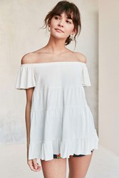 Kimchi And Blue Eliza Ruffle Tiered Off The Shoulder Tee White