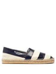 Valentino Striped Leather And Canvas Espadrilles Blue Multi