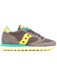 Saucony Panel Lace Up Sneakers Women Cotton Leather Nylon Rubber 41 Brown