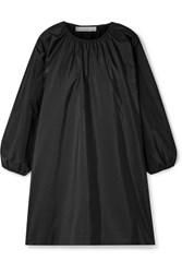 The Row Sade Oversized Gathered Silk Taffeta Mini Dress Black