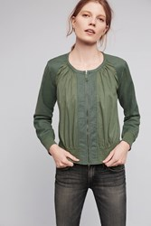 Anthropologie Hilltop Ruched Bomber Green