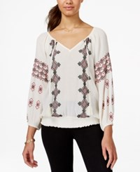 American Rag Embroidered Tassel Smocked Waist Peasant Top Only At Macy's