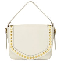 John Lewis Maya Leather Slouch Shoulder Bag Cream