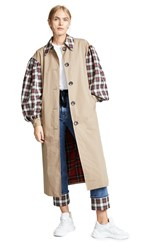 Isa Arfen Contrast Olivia Trench Coat White Red