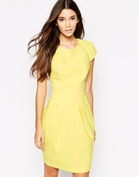 Wolf And Whistle Pleated Tulip Dress Yellow