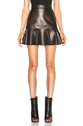 Givenchy Leather High Waist Ruffle Mini Skirt In Black