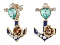 Betsey Johnson Heart Anchor Earrings Jacket Blue Earring
