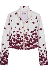 Suno Printed Cotton Blend Faille Jacket Purple