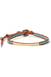 Chan Luu Gold Plated Turquoise And Leather Bracelet