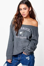Boohoo Los Angeles Oversized Slash Neck Sweatshirt Grey