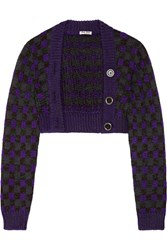 Miu Miu Cropped Checked Wool Blend Cardigan Purple