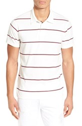 Men's Rvca 'Sure Thing' Stripe Jersey Polo Vintage White
