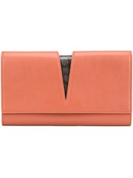 Jil Sander Cut Off Detailing Flap Clutch Brown