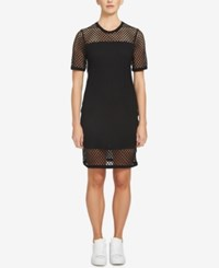 1.State Mesh Contrast T Shirt Dress Rich Black
