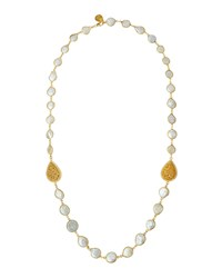 Devon Leigh Long Coin Pearl And Filigree Teardrop Station Necklace Women's