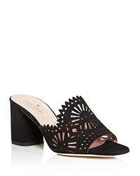 Kate Spade New York Delgado Suede Cutout High Heel Slide Sandals Black