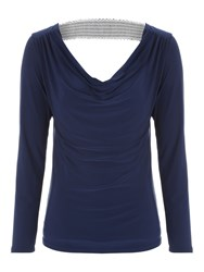 Jane Norman Sequin Trim Cowl Back Top Navy