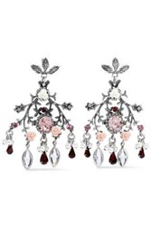 Dannijo Ivy Oxidized Silver Plated Resin Faux Pearl And Crystal Earrings Silver