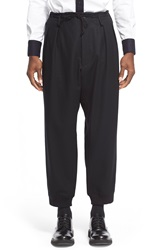 Yohji Yamamoto Wool Pleated Crop Pants Black