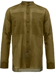 Balmain Slim Mandarin Collar Shirt Green