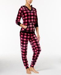 By Jennifer Moore Hooded Velour Pajama Set Only At Macy's Pink Checkered