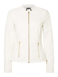 Episode Pu Leather Jacket With Gold Zipper White