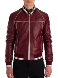 Dolce And Gabbana Leather Racing Moto Jacket Dark Red