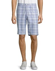 Calvin Klein Plaid Cotton Shorts Baby Blue
