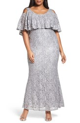 Marina Plus Size Women's Sequin Lace Cold Shoulder Long Dress Grey