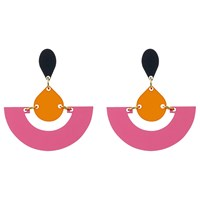 Toolally Fan Colour Block Drop Earrings Raspberry Mandarin