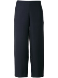 Roberto Collina High Waist Cropped Trousers Polyester Spandex Elastane Viscose Xs Blue