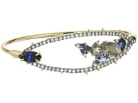 Alexis Bittar Crystal Encrusted Spike Accented Gemstone Cluster Tension Bangle Bracelet 10K Gold Ruthenium Bracelet