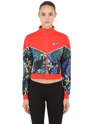 Nike Floral Cropped Track Jacket Red