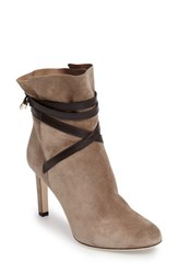 Jimmy Choo Women's Dalal Tie Bootie Light Mocha Dark Brown Suede