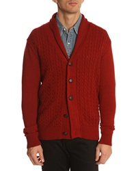 Menlook Label J7 Burgundy Cable Knit Cardigan