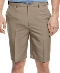 Haggar Flat Front Microfiber Performance Shorts Tan