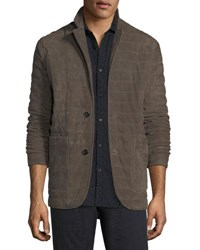 Billy Reid Quilted Suede Blazer Mud Grey