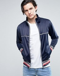 Brave Soul Mens Zip Through Funnel Neck Sweat With Piping Detail Navy