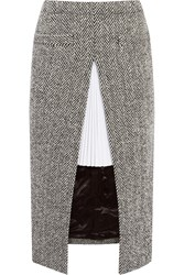 Sacai Twill Paneled Herringbone Wool Blend Skirt Gray