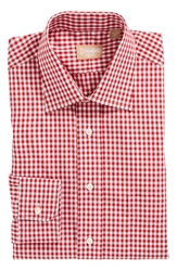 Gitman Regular Fit Cotton Gingham English Spread Collar Dress Shirt Red
