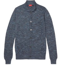 Isaia Slim Fit Melange Cotton And Linen Blend Cardigan Blue