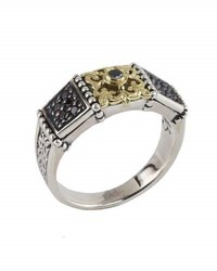 Konstantino Asteri Slim Floral Pave Black Diamond Band Ring Multi