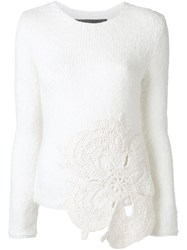Jay Ahr Flower Patch Pullover White