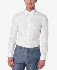 Perry Ellis Men's Slim Fit Broken Line Long Sleeve Shirt Bright White