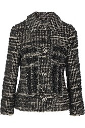 Simone Rocha Crystal Embellished Metallic Tweed Jacket Black